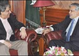 Finance Minister Ishaq Dar met Governor Sindh Ishrat Ul Ebad Khan