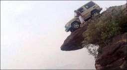 Young's unique achievement, car parked on the mountain top