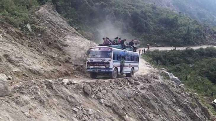 Bus fell off in a ravine near Azad patan.