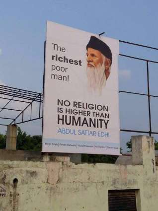 India testimonies the services of Abdul Sattar Edhi, his posters went up in Jalandhra