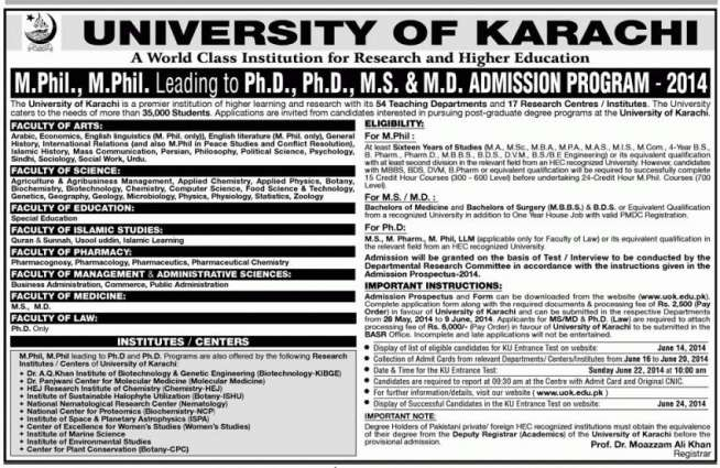 Karachi University to award 41 PhD, 13 MPhil degrees