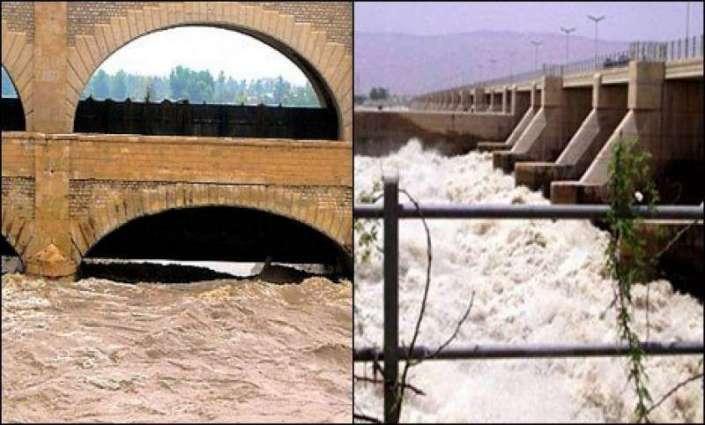 دریائے سندھ اچ گدو تے سکھر بیراج دی جاہ تے تلویں درجے دا سیلاب