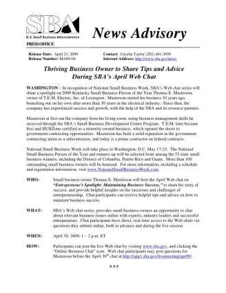 News-Advisory