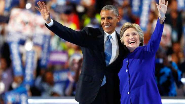 Clinton joins Obama on convention stage