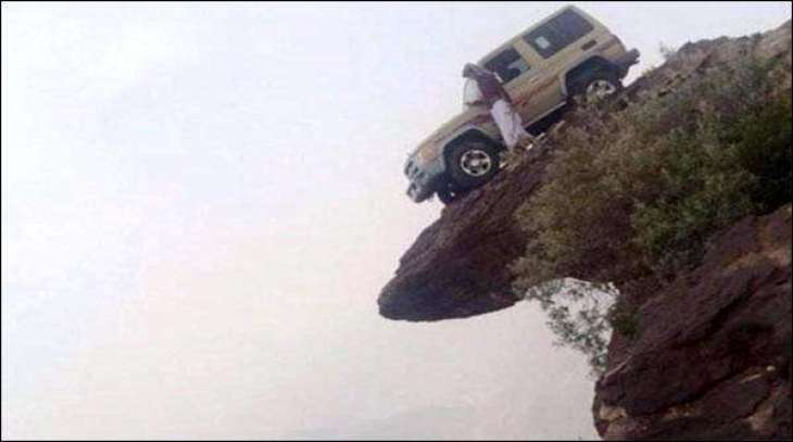 Young's unique achievement, car parked on the mountain top