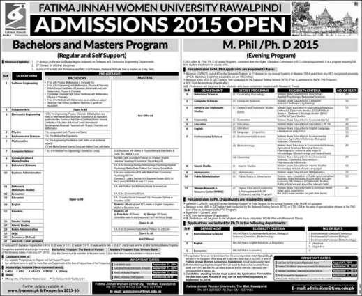 FJWU announces admission for Bachelor, Master Programs