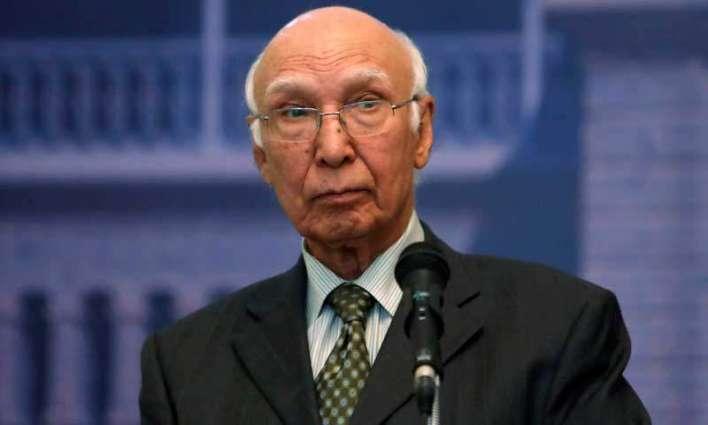 مستشار رئيس الوزراء الباكستاني للشؤون الخارجية: باكستان تكثف جهودها الدبلوماسية لتوعية المجتمع الدولي حول الأعمال الوحشية ضدالكشميريين من قبل الهند في كشمير المحتلة
