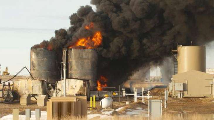 Oil tank catches fire