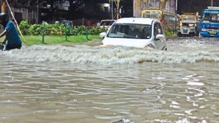 Heavy downpour inundates city areas