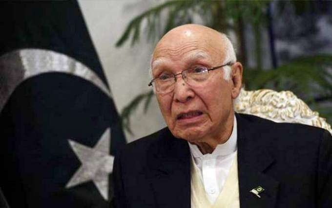 Sartaj invites Arab League's attention towards horrendous Indian atrocities in IOK