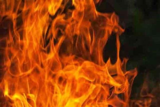 Warehouse on fire near Bolton Market in Karachi