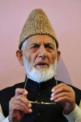 Syed Ali Gilani holds sit-in protest in Srinagar