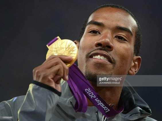 Olympics: Men's athletics triple jump podium