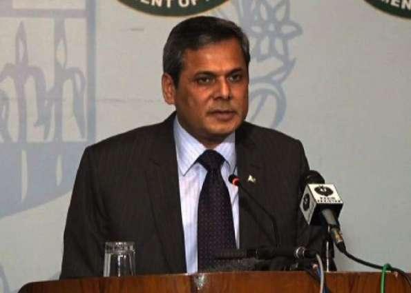 پاکستان نے کشمیر دا معاملا اقوام متحدا وچ چُکیا اے۔ ترجمان دفتر خارجا اسیں کشمیر دا مسئلا با بار عالمی فورمز تے چُکیا اے، کشمیر دا معاملا پچھلے 6 دہاکیاں توں اقوام متحدا دے ایجنڈے اُتے وی اے: ہفتا وار بریفنگ