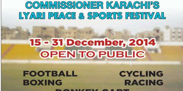 Karachi Peace Sports Festival from Tuesday