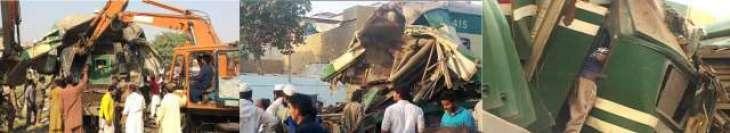کراچی: ٹرین حادثے وچ موتاں دی گنتی20ہوگئی