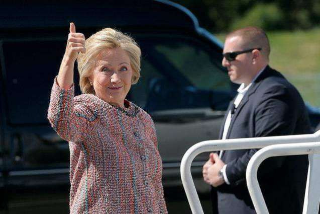Hillary Clinton casts her vote in US election