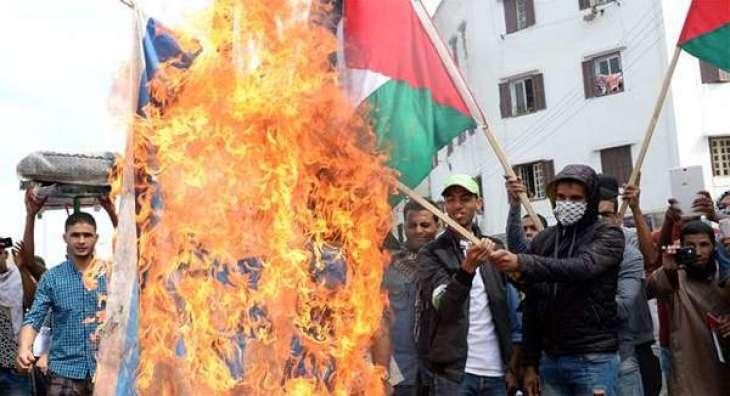 Hundreds protest Israeli flag at UN climate talks