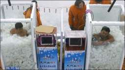 A blood freezing contest held in Chinese province Hunan, one of the competitor sets world record