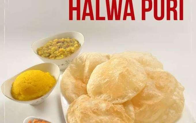 Traditional 'Halwa puri', most favorite breakfast in winter