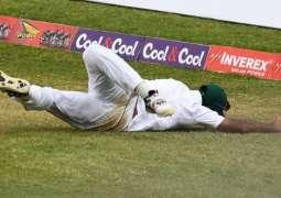 Superman Wahab Riaz catches the ball in air