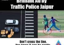 بھارتی ٹریفک پولیس نے چیمپئنز ٹرافی فائنل وچ جسپریت بمراہ دی نوبال اُتے ٹریفک اشتہار بنا دتا