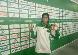 Ambareen Massih makes hat-trick of winning third bronze medal in Belt Wrestling for Pakistan