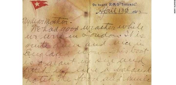 ٹائی ٹینک جہاز دے مسافر دی جیب توں لبھن والا خط اک کروڑ 66لکھ رُپئے وچ نیلام