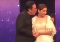 Javed Sheikh was criticized for trying to kiss Mahira Khan  in Lux Style Awards.
