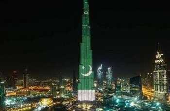 برج الخلیفہ یوم پاکستان دے موقع تے پاکستانی جھنڈے دے رنگ اچ رنگ گیا
