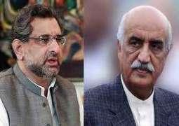 Prime Minister Shahid Khaqan Abbasi, Khurshid Shah hold consultations on care-taker government