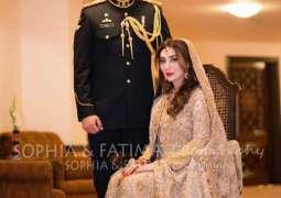 Aisha Khan's husband Major Uqbah wears army uniform on reception