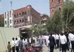 Lawyers attack Faisalabad CPO's office in protest against FIR