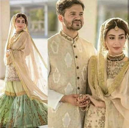 Actress Aisha Khan gives major dress goals on her wedding