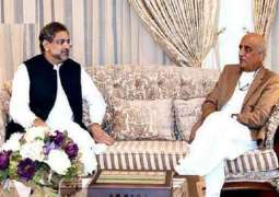 Opposition leader meets Shahid Khaqan, says caretaker PM to be named on Tuesday