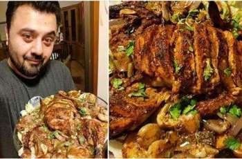 Ahmed Ali Butt treats family with roasted masala chicken
