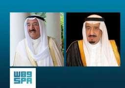 خادم الحرمين الشريفين يتلقى برقية عزاء من أمير دولة الكويت في استشهاد ثلاثة مدنيين في منطقة جازان
