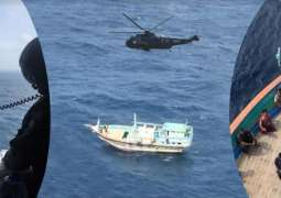 Pakistan Navy helicopter provided assistance to stranded Iranian Dhow in North Arabian Sea
