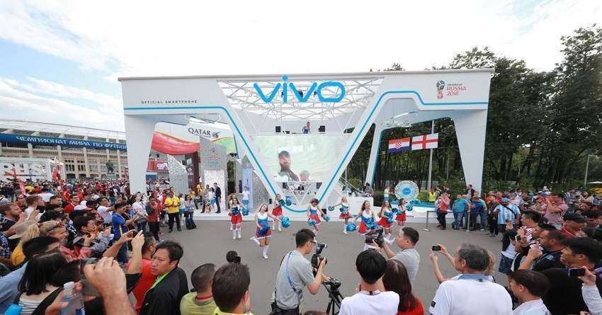 Cheerleaders performing the Vivo Swag to Official Song 'Live it Up' at Vivo commercial display at Luzhniki Stadium