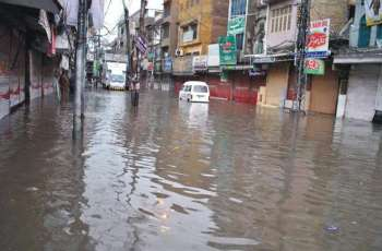 Heavy rain turns most city roads into pools in Multan