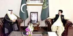 رئيس مجلس الشيوخ الباكستاني يستقبل سفير خادم الحرمين الشريفين لدى باكستان