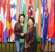 Designer Sania Maskatiya visits UN office in New York