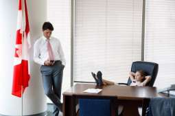 Justin Trudeau wins over hearts by giving his chair to daughter