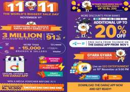 Daraz brings the world's biggest sale day - Alibaba's 11.11 Global Shopping Festival – to Pakistan For the first time ever, a special treat on November 11