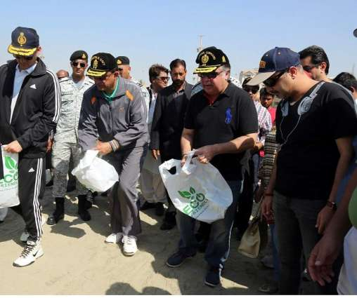 Pakistan Navy Conducts Beach Cleaning And Tree Plantation Campaign At Seaview, Clifton