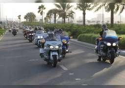 <span>شرطة عجمان تنظم مسيرتين للدراجات النارية وسيارات الدفع الرباعي والكلاسيكية احتفاء باليوم الوطني</span>