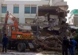 SBCA demolishes illegal constructions in different areas of city Karachi