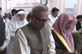 President visits Roza e Rasool (SAWW), offers Zuhr prayer at Masjid-e-Nabvi