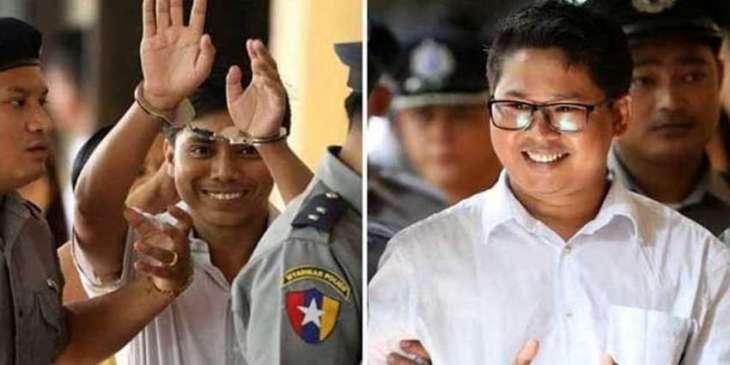 میانماراچ روئٹرزدے ڈو صحافیاں دی گرفتاری دا ایک سال مکمل، ینگون اچ ریلی کڈھی گی