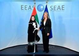 """القبيسي تبحث مع """"فيدريكا موغريني """"علاقات التعاون بين الإمارات والاتحاد الأوروبي"""